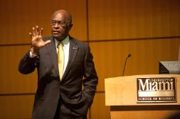 Herman Cain visits the 2012 Elections class